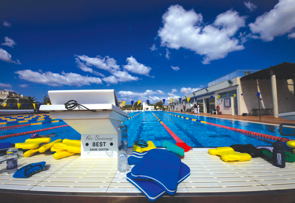 Outdoor swimming pool block